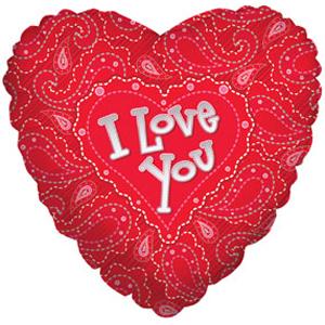 Фигурный шар 'I love you (с узорами)'