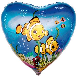 Шарик-сердце 'Рыбки-клоуны'
