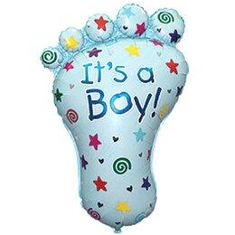 """Шар на выписку из роддома - фольгированный фигурный шар """"Пяточка"""" (голубая) для мальчика"""