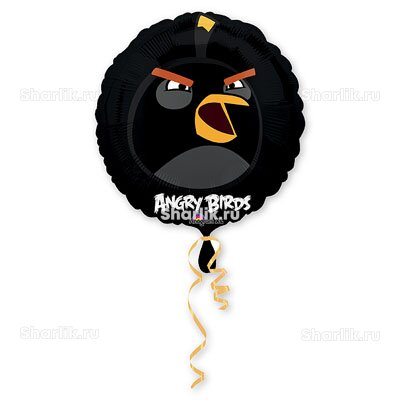 Шарик-круг Черная птица Angry Birds