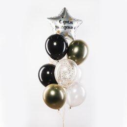 Фонтан из шаров с серебряной звездой с надписью: С днем рождения, черными и светлыми шарами, золотыми шарами хром