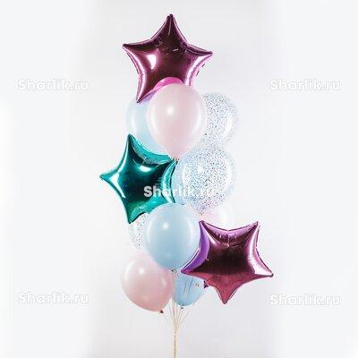 Фонтан из шаров с розовой, сиреневой и тиффани звездами, розово-голубыми шарами и конфетти