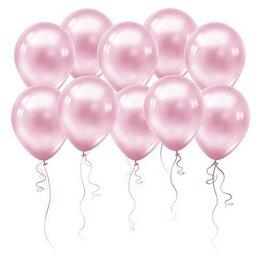 Шарики на день рождения — одноцветные гелиевые нежно-розовые (металлик)
