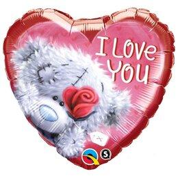 Шарик-сердце I love you Мишка Тедди