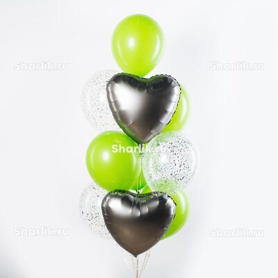 Фонтан из шаров с серебряными сердцами и салатовыми шарами