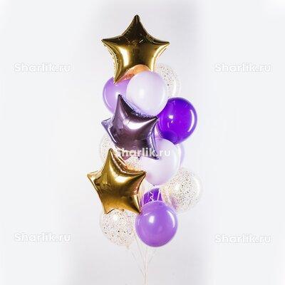Фонтан из шаров с золотыми и сиреневой звездами и бело-сиреневыми шарами