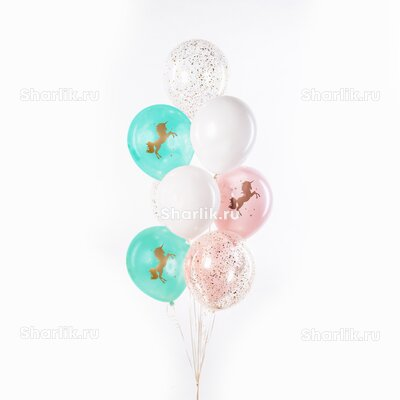 Фонтан из шаров с голубыми и розовыми шарами с рисунком единорога, белыми шарами и конфетти