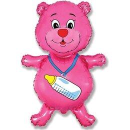 """Шар фольгированный на выписку из роддома - фигурный гелиевый шар """"Медвежонок с бутылочкой"""" малинового цвета для малышки"""