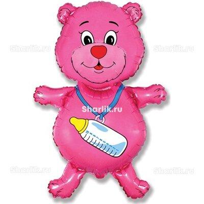 Фигурный шар Медвежонок с бутылочкой малиновый