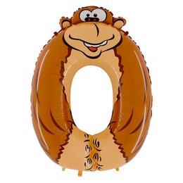 """Воздушный шарик-цифра """"0"""" в виде объемной фигуры обезьянки"""