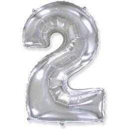 """Серебряные воздушный шар-цифра """"2"""""""