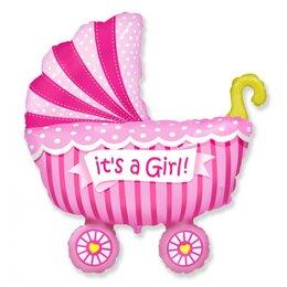 """Шарик на выписку из роддома - гелиевый фигурный шар """"Коляска"""" (розовая) для девочки"""