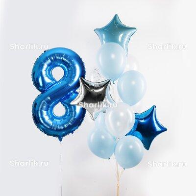Фонтан из шаров c цифрой, синей, голубой и серебряной звездами и шарами в бело-голубой гамме