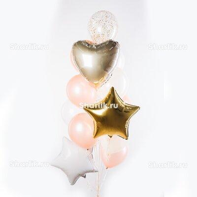 Фонтан из шаров с золотой и белой звездами, розовыми шарами и сердцем цвета розовое золото