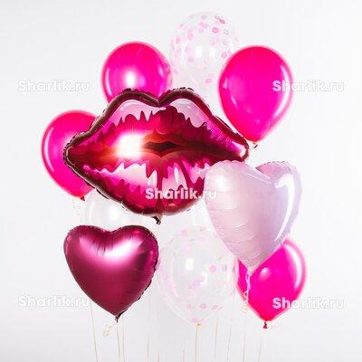 Набор из шаров с розовыми губами, шарами цвета фуксия, розовыми сердцами