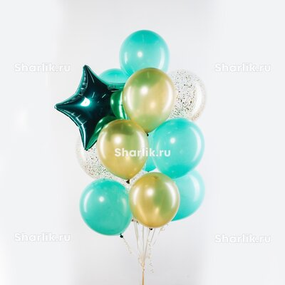 Фонтан из шаров с зеленой звездой, золотыми и голубыми шарами
