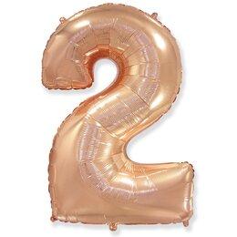 """Шарик надувной цифра """"2"""" в цвете розовое золото"""