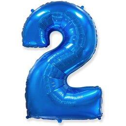 """Воздушный шар-цифра """"2"""" синего цвета"""