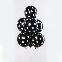 Фонтан из шаров черные в белый горошек