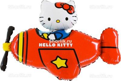 Фигурный шар Hello Kitty в красном самолете