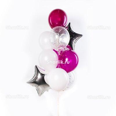 Фонтан из шаров с белыми и розовыми шарами, серебряным конфетти и серебряными звездами