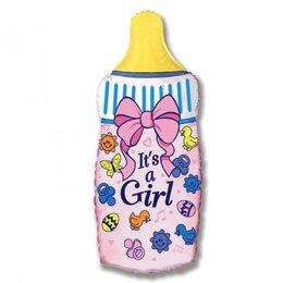 """Шарик на выписку из роддома - шарик фигурный надувной """"Бутылочка розовая"""" для девочки"""