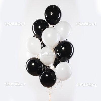 Фонтан из шаров с черно-белыми шарами