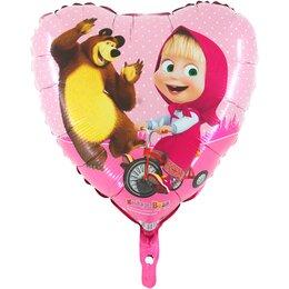 Шарик-сердце розовый Маша и Медведь