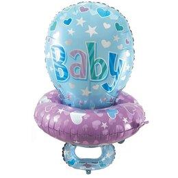 """Фигурный воздушный шар """"Соска"""" (для мальчика) - украшение шарами на выписку из роддома"""