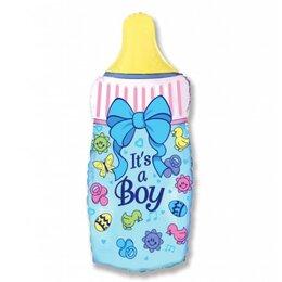"""Шар фольгированный на выписку из роддома - гелиевый фигурный шар """"Бутылочка голубая"""""""