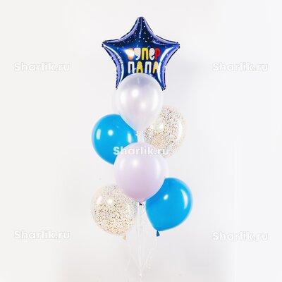 Фонтан из шаров с синей звездой в белую крапинку с надписью: Супер папа и бело-голубыми шарами