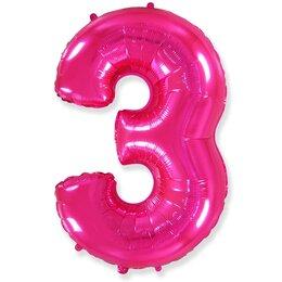 """Розовый надувной шарик в виде цифры """"3"""""""