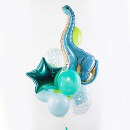 Фонтан из шаров с голубым динозавром Диплодок, тиффани звездой и шарами в голубых и салатовых тонах