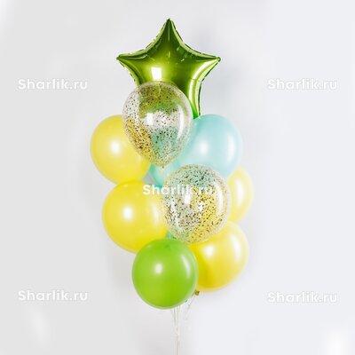 Фонтан из шаров с зеленой звездой, желто-голубыми и зелеными шарами