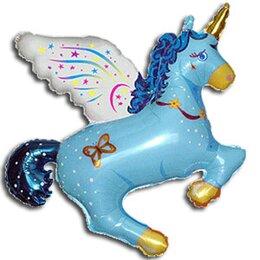Фигурный шар Волшебный Единорог голубой