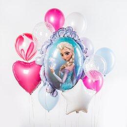 Фонтан из шаров с Эльзой, розовыми сердцем и мраморным шаром и белой звездой