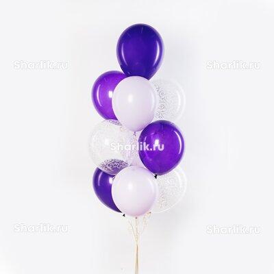 Фонтан из шаров сиреневых и белых цветов и прозрачные шары с узорами