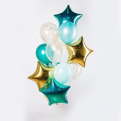 Фонтан из шаров с золотыми и тиффани звездами, голубыми шарами и конфетти