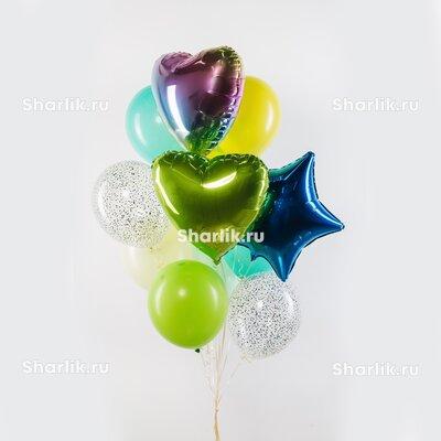 Фонтан из шаров с салатовым и разноцветным сердцами, синей звездой, серебряными конфетти