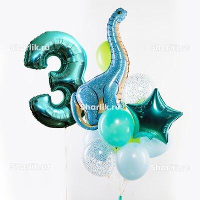 Фонтан из шаров с цифрой, голубым динозавром Диплодок, тиффани звездой и шарами в голубых и салатовых тонах