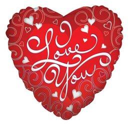 Фигурный шар I love you (с узорами)
