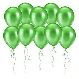 Зеленые надувные шары (металлик) на днюху