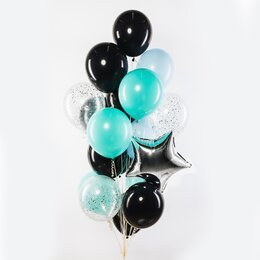 Фонтан из шаров с черными и голубыми шарами, серебряными звездой и конфетти