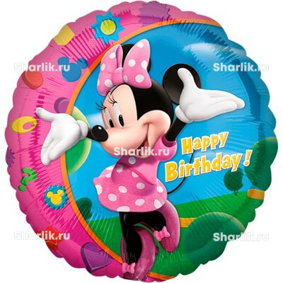 Шарик-круг С Днем Рождения Минни Маус