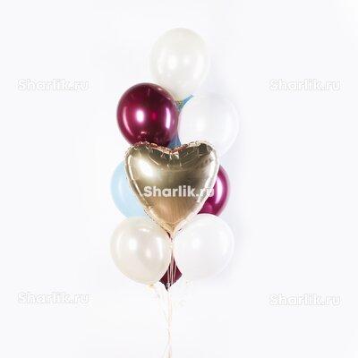 Фонтан из шаров с золотым сердцем, светлыми шарами и шарами бургунди