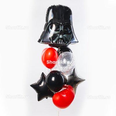 Фонтан из шаров со шлемом Дарт Вейдера, черными звездами и красными шарами