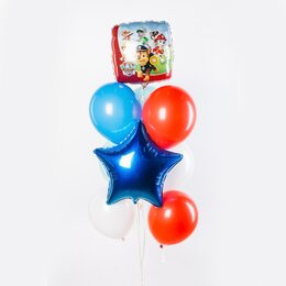 Фонтан из шаров с синей звездой, красными шарами и шаром-квадратом Щенячий Патруль