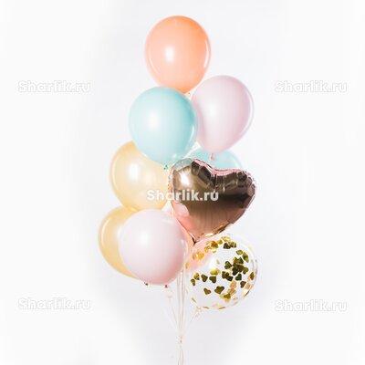 Фонтан из шаров с сердцем цветом розовое золото, золотым конфетти и розовыми, голубыми и персиковыми шариками