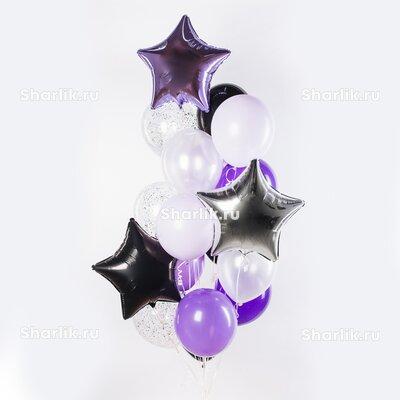 Фонтан из шаров с сиреневой, черной и серебряной звездами и сиренево-белые шары