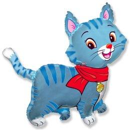 """Милый фигурный шарик """"Котёнок"""" (синий) на выписку из роддома"""